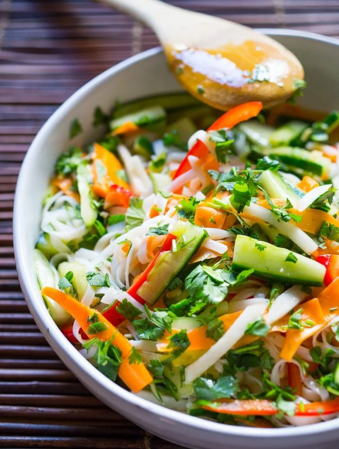 A delicious healthy recipe for Vietnamese Rice Noodle Salad with flavorful pickled vegetables.
