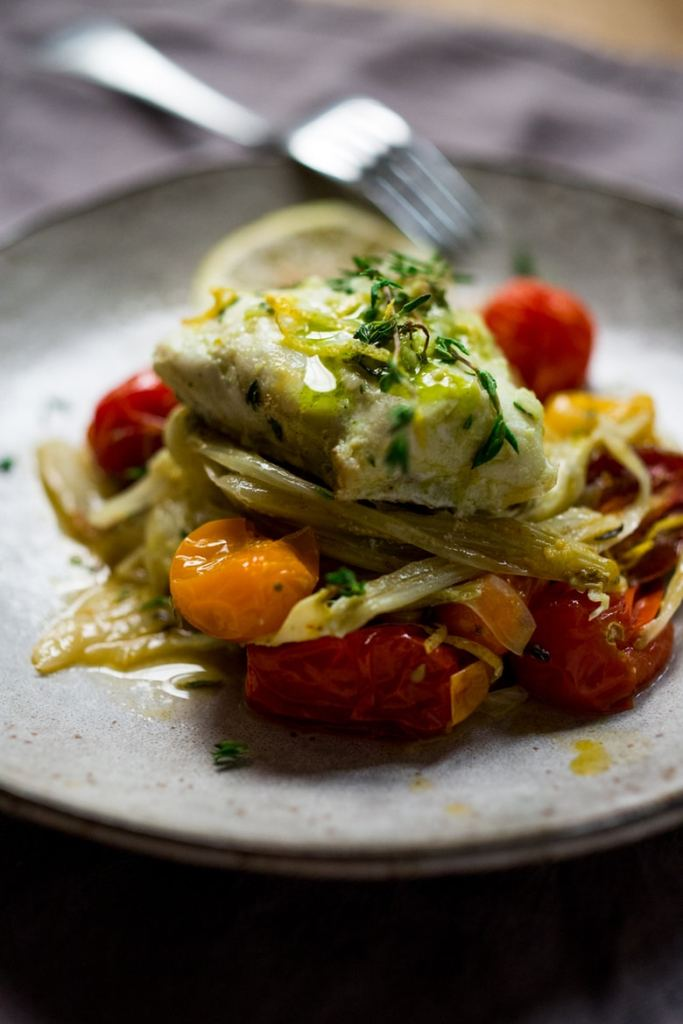 The tomatoes and fennel become meltingly delicious in the oven, then ...