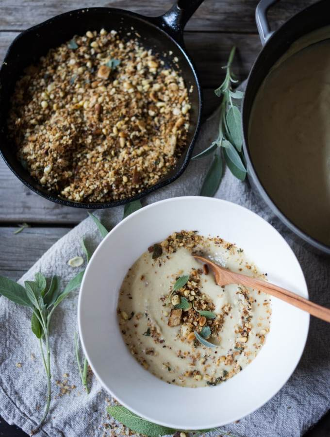 "Cauliflower Leek Soup with Pine nut Sage ""Crumble"""