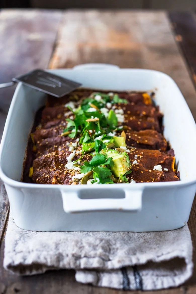 Roasted Butternut Mole Enchiladas
