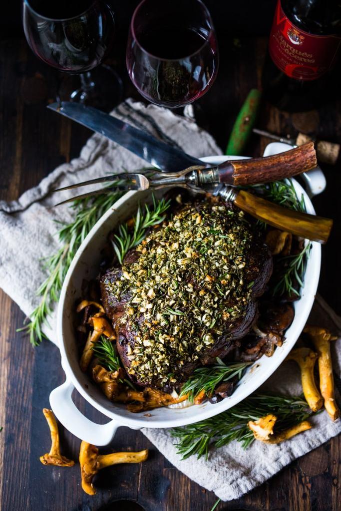 Rosemary Garlic Beef Roast with Wild Mushrooms