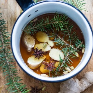 "Maple infused with ginger, star anise and fir, elevate this bourbon cocktail called ""A Long Winter's Nap"" 