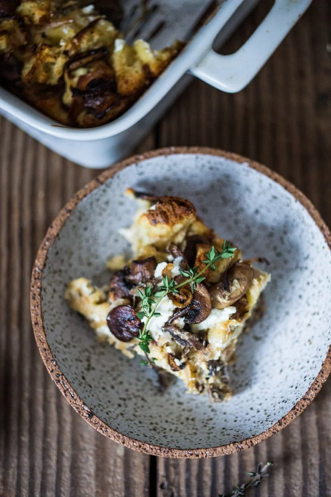 Breakfast Strata with Mushrooms, Caramelized Onions, Goat cheese ...
