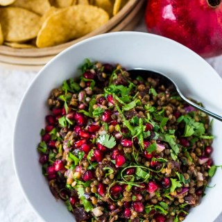"A take on ""Texas Caviar"", Palouse Caviar is made w/ NW Palouse lentils, pomegranate, avocado, lime & served with corn chips for a festive healthy appetizer. 