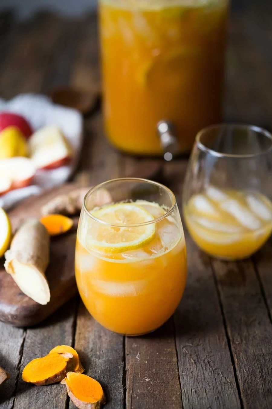 "Turmeric Gingerade -a healing, energizing ""lemonade"" sweetened only w/ apple juice & infused w/ ginger and turmeric root- very healing, soothing & detoxing!"