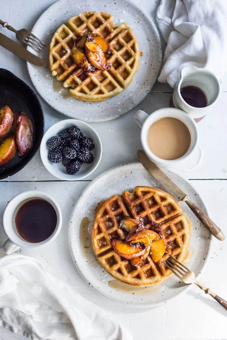 SOURDOUGH WAFFLES WITH MAPLE GLAZED PEACHES | Feasting At Home