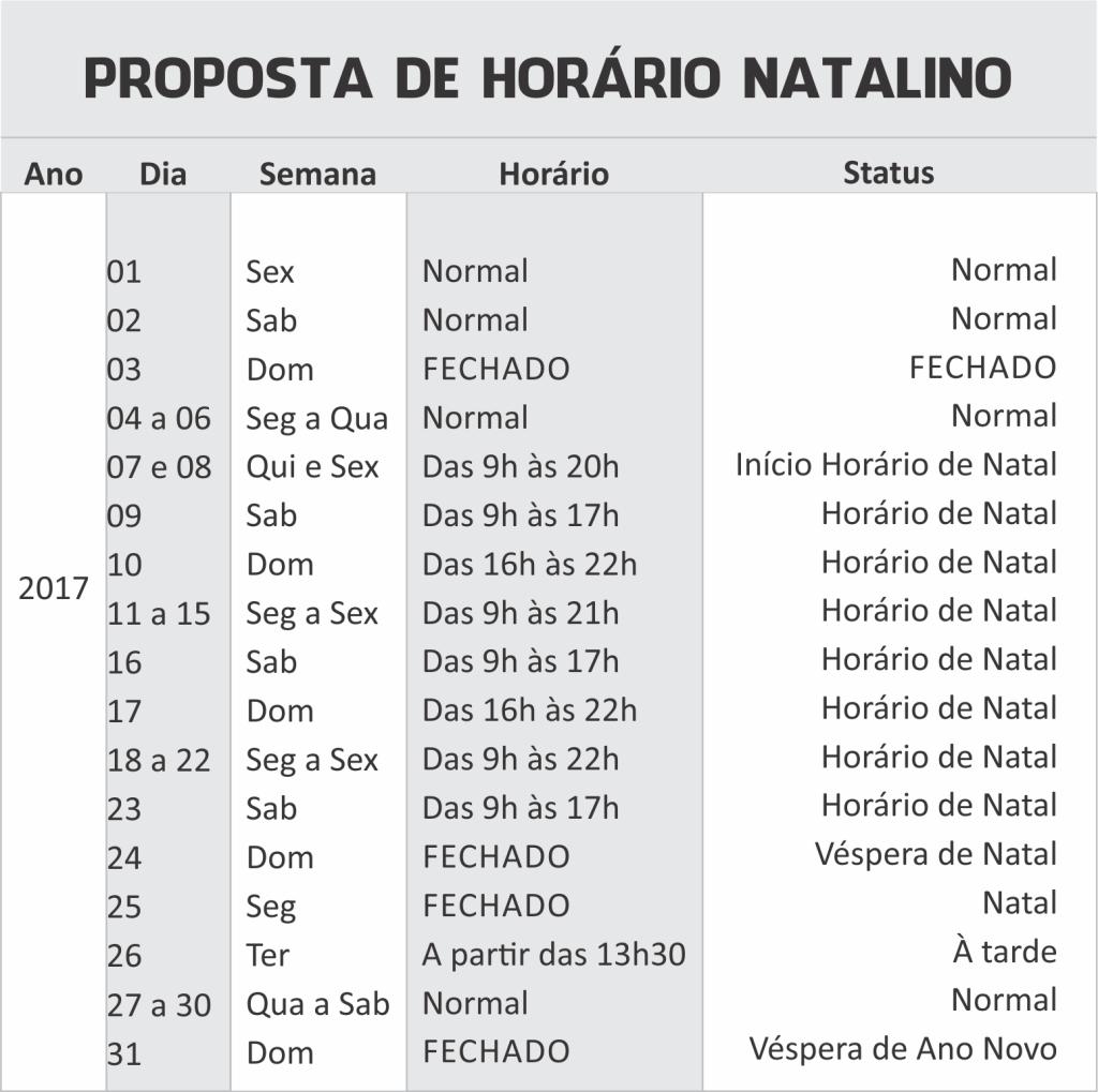 tabela horario de natal Tubarão