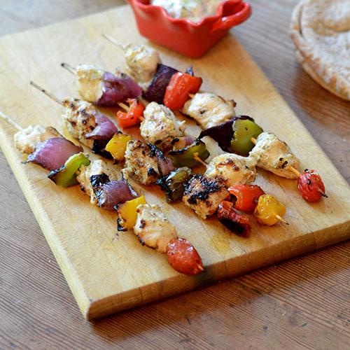 Chicken Kabobs, greek, chicken, spices, fat-free, yogurt, marinade ...