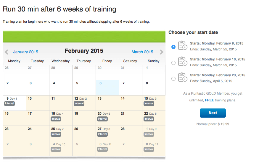 An example of a Runtastic training plan