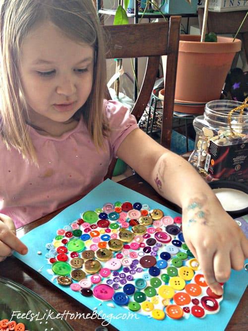 Rainbow Button Egg - Easter Egg Craft