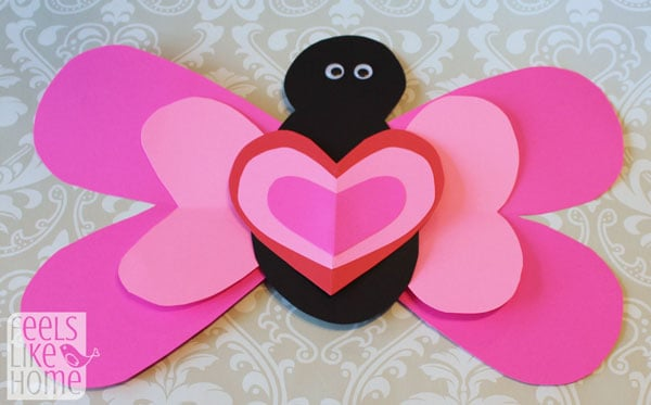 Valentine's Day heart-shaped animal crafts for kids butterfly