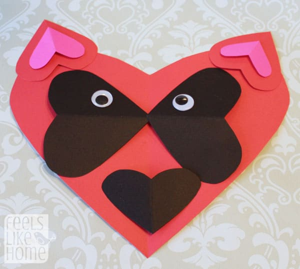 Valentine's Day heart-shaped animal crafts for kids raccoon