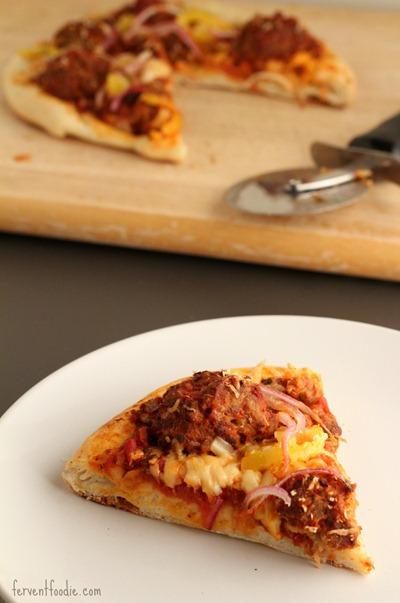 homemade sausage meatball pizza