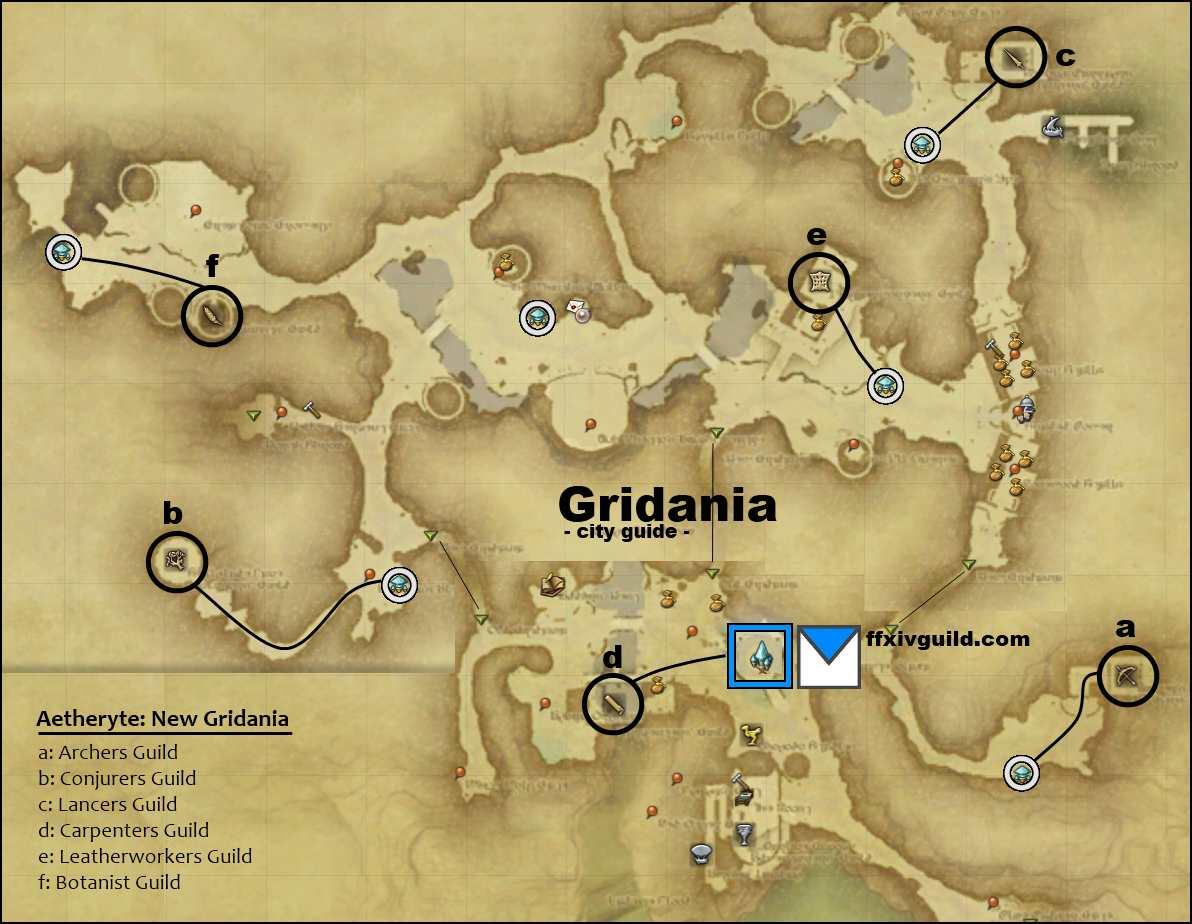 Ffxiv A Realm Reborn Maps Of City Guilds Ffxiv Guild