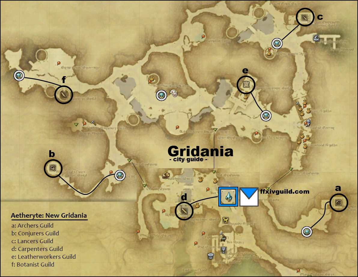 FFXIV A Realm Reborn: Maps of City & Guilds!