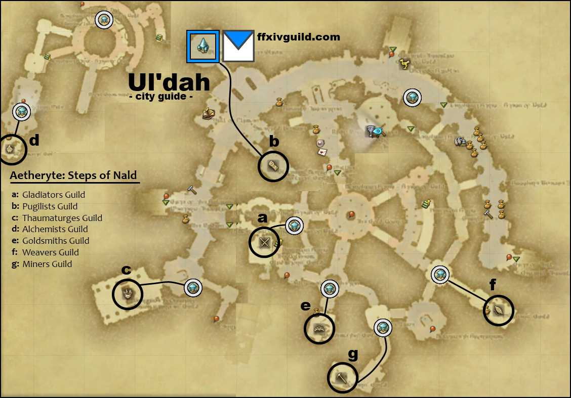FFXIV A Realm Reborn Maps of City Guilds FFXIV Guild