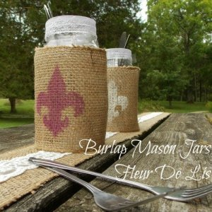 Burlap Wrapped Mason Jars with Fleur De Lis Design