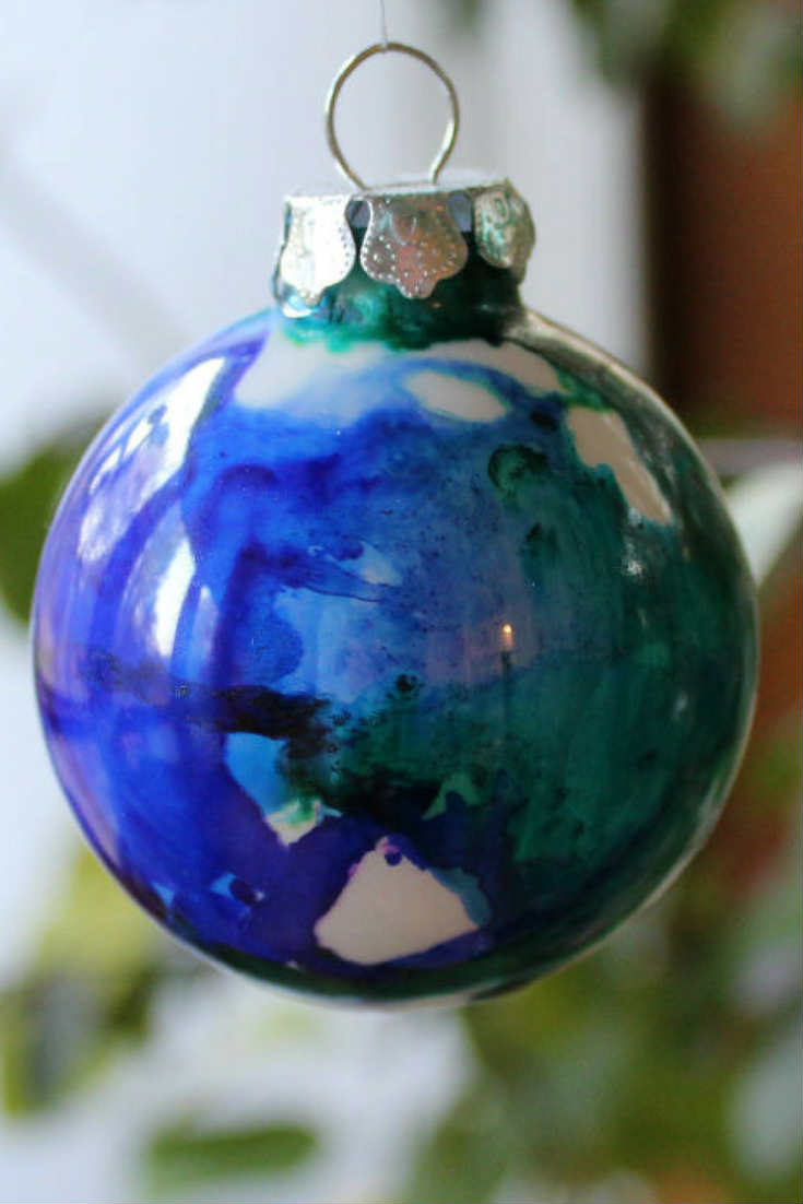 Alcohol Ink Painted Christmas Ornaments