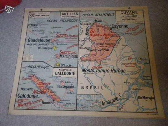 Carte scolaire ancienne géo guyane antilles afrique du nord