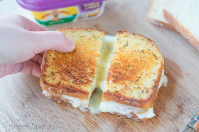 Garlic and Herb Grilled Cheese with Chicken and Brie
