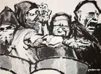 Hooligans gehen unter CN-Gas vor (frei-nach-Otto-Dix) von Nikolaus Pessler