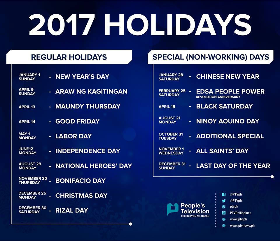 holidays for 2017