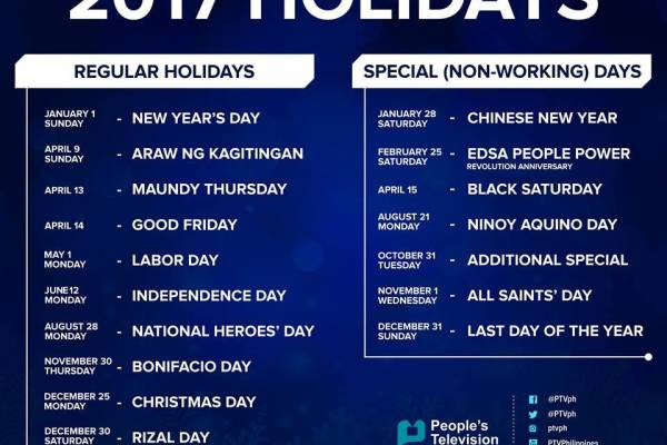 philippine holidays for 2017