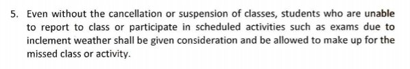 CHED guidelines on class suspensions