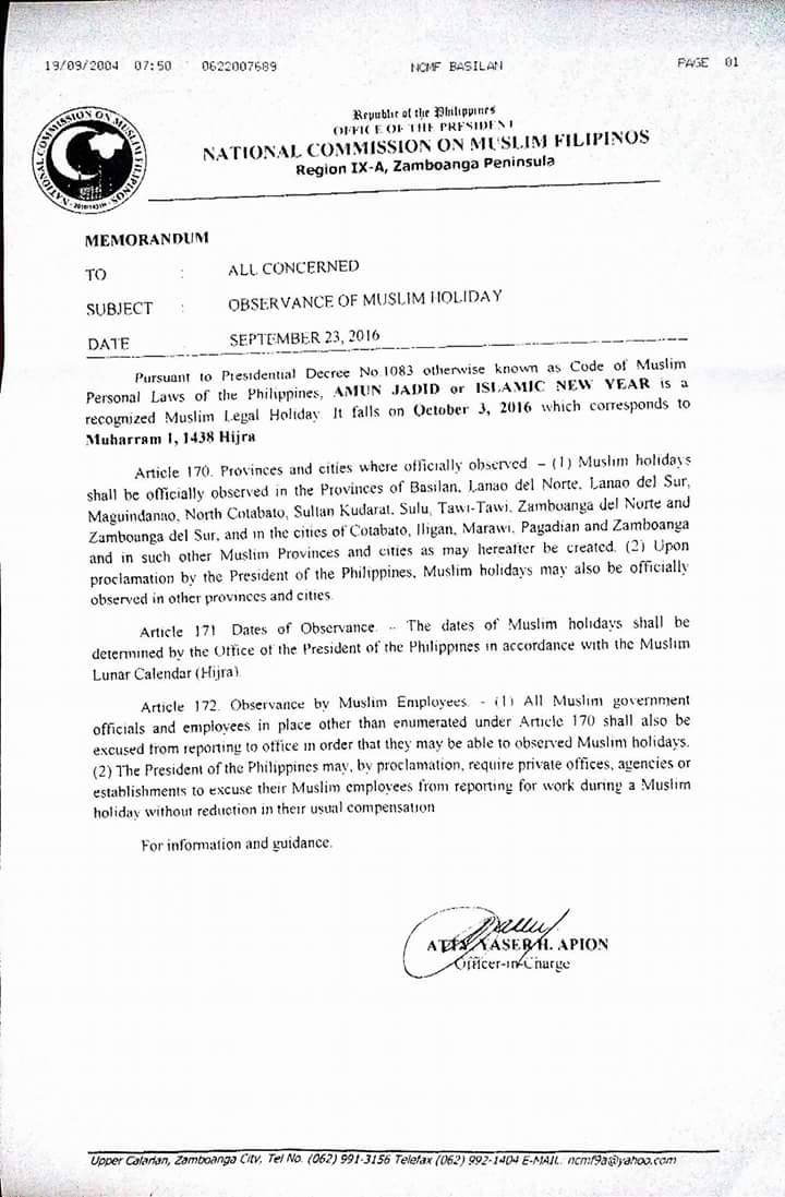 #WalangPasok - October 3 2016 declared holiday in some Mindanao provinces