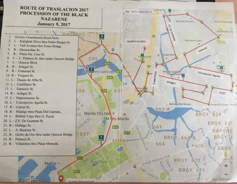 2017 feast of the black nazarene procession route