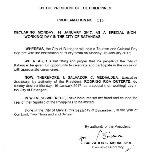 #WalangPasok - January 16 2017 declared a holiday in Batangas City