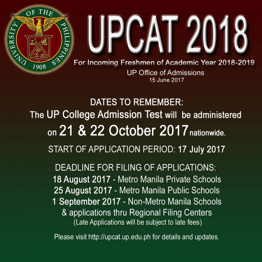 Application for UPCAT 2018 set to begin July 17