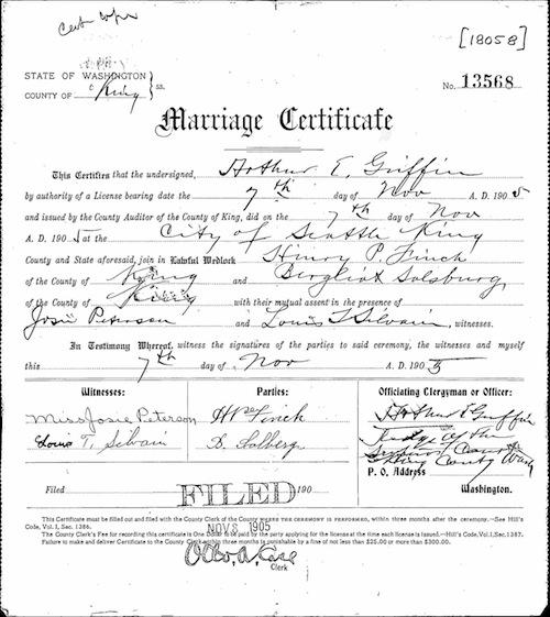 Henry's wedding certificate