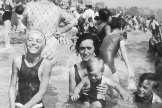 Lily at the beach with her children