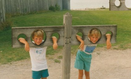 Siblings: My brother and I as kids.