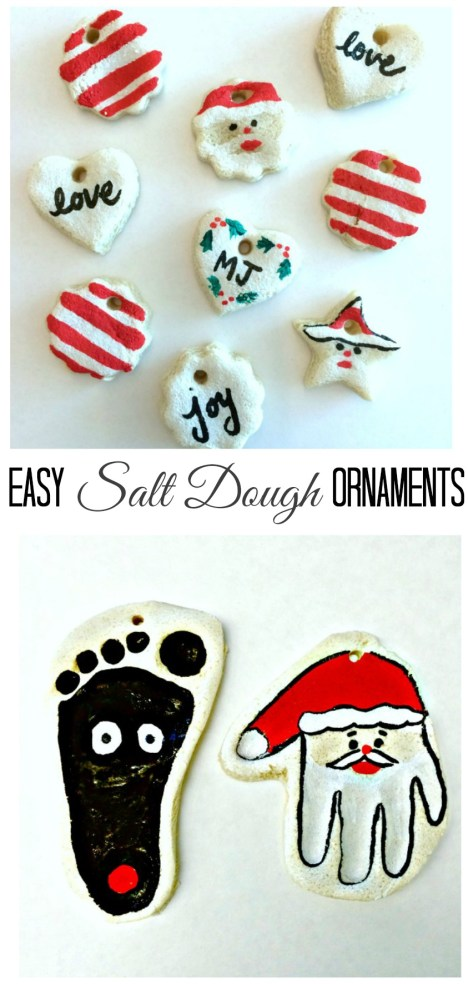 Easy Salt dough ornaments painted with sharpie paint pens.  No mess at all!