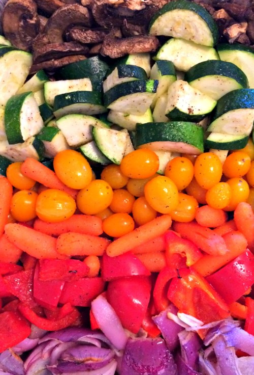 simple and pretty. Rainbow roasted veggie side dish