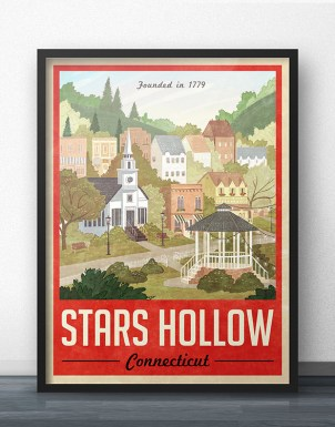 Stars Hollow Red Travel Poster