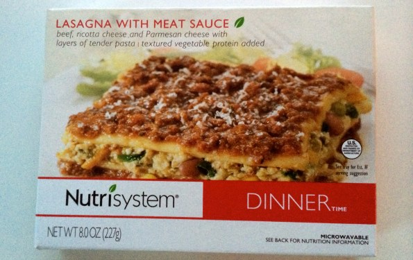 Nutrisystem prepackaged food, Nutrisystem lasagna