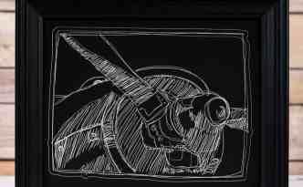 Scratch Board Airplane Curio Art - hi res