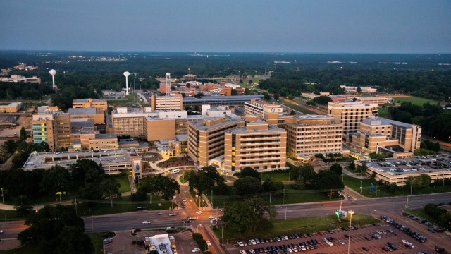 Night falls on the Uninversity of Mississippi Medical Center campus in Fondren