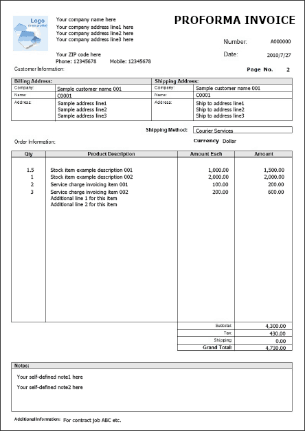 pro forma template word   Template