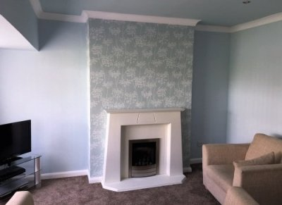 Painting And Feature Wallpaper In A Lounge In Rawtenstall