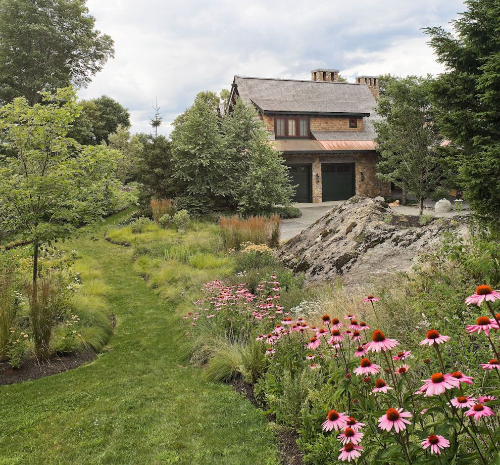 Pretentious Landscape Boulders Grass Path Grasseslawn Mass Plantings Istic Path Lowes New Lenox Artemisia Silver Lowes New Lenox Landscape houzz-02 Artemisia Silver Mound