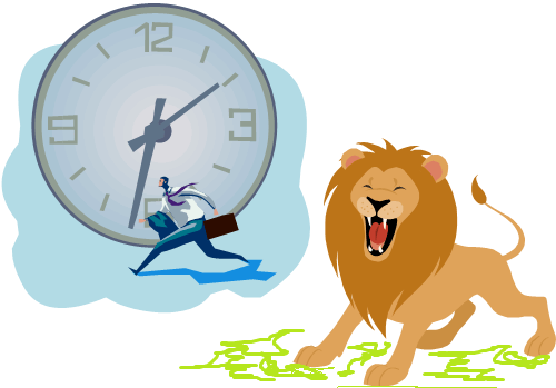 Man Running Clock in Background Lion Roaring