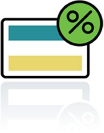 Credit Card with Percentage Symbol