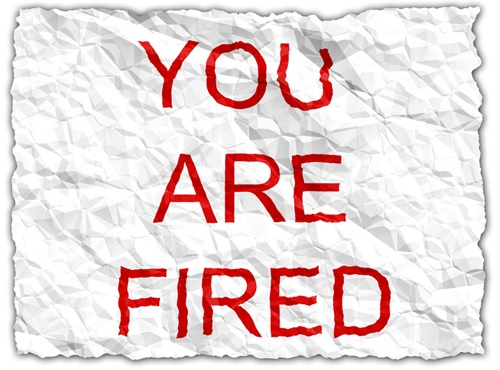 You Are Fired on Crushed Paper