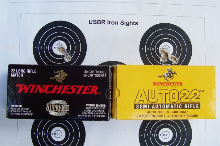 The author's Brno model 2 rimfire bolt action shot these two Winchester loads to the same point of impact. The two 10 shot groups were shpt at a distance of 50m and measure just on half an inch each.