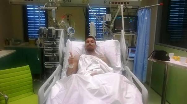 Cristiano Giannessi, colpito dalla meningite, nella foto postata sulla sua pagina Facebook