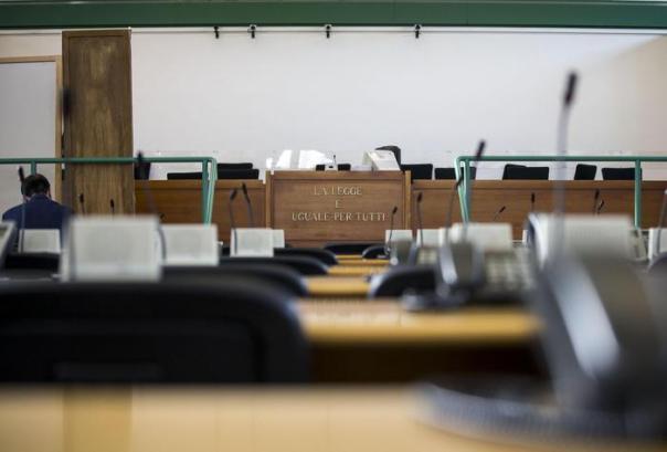 L'aula Bunker del carcere di Rebibbia dove si svolge il processo Capaci Bis durante il quale depone La Barbera, Roma, 24 novembre 2014. ANSA/MASSIMO PERCOSSI